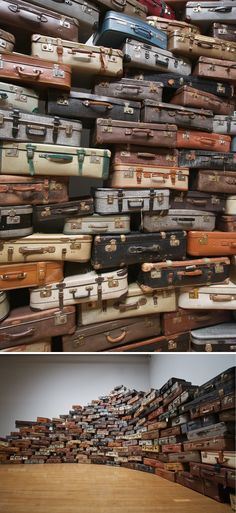 Searching for the destination - art installation by Chiharu Shiota. Inside the suitcases are old photos.