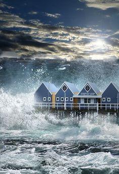 A tsunami hits Busselton jetty Busselton, Western Australia.
