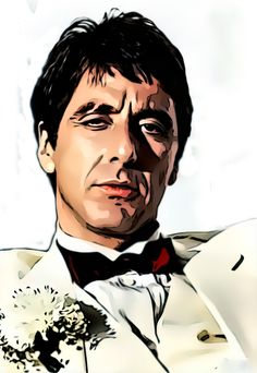 Al Pacino Scar Face If you like lots of action and blood Old time favorite. Al Pacino, Scarface Film, Scarface Poster, Gangsters, Fan Art, Deviantart, Scared Face, Don Corleone, Gangster Movies