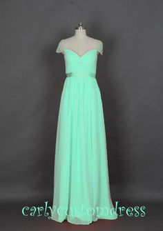 Long Mint Prom Dress/Long Beaded Bridesmaid by CarlyCustomDress