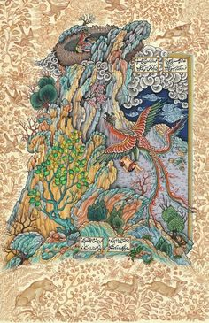 """""""The Bird Simurgh Takes the White-Haired Zal to Her Nest in the Mountains"""", by Navrang"""