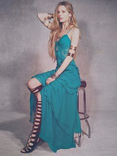 Pin for Later: Perfect Maxi Dresses For Lazy Spring Days  Free People teal ruffle and lace maxi dress (£325)