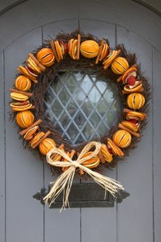 Orange door wreath