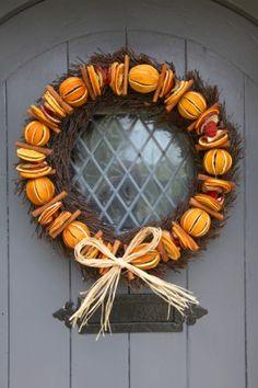 Orange door wreath