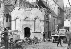 Pictured here is the exterior of a synagogue in Wiesloch, Germany in the aftermath of Kristallnacht. On Kristallnacht, in addition to the vandalizing of the synagogue, windows of Jewish homes were smashed and Jewish men were detained in the Dachau concentration camp.Yad Vashem Photo Archives 2538/5