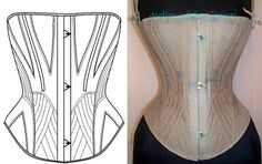 Here is pattern ref : D set including a paper pattern + several pictures of the antique corset i draft, worn and display on antique