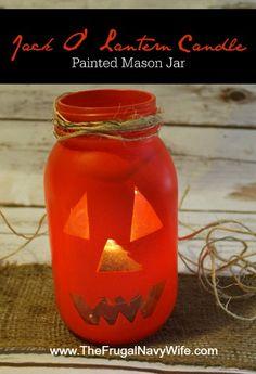 Jack O Lantern Mason Jar - Such a great DIY Halloween decor item!