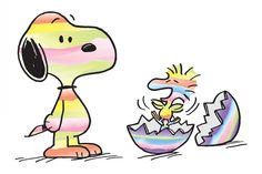 Snoopy and Woodstock painted like easter eggs