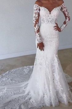 Fabulous Tulle Jewel Neckline Mermaid Wedding Dresses With Beaded Lace Appliques. - Fabulous Tulle Jewel Neckline Mermaid Wedding Dresses With Beaded Lace Appliques - Size 18 Wedding Dress, Top Wedding Dresses, Wedding Dress Trends, Wedding Dress Sleeves, Long Sleeve Wedding, Elegant Wedding Dress, Wedding Gowns, Tulle Wedding, Modest Wedding