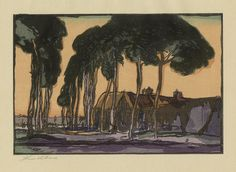 Yoshijiro Urushibara (Japanese/British: 1999-1953): 'The Outskirts of a Flemish Town (in collaboration with Frank Brangwyn)'; 1924; color woodcut. This depicts a rural road in Belgium with the tall trees and modest homes. Brangwyn was born in Bruges, Belgium and moved to England when he was 7. He returned to Belgium throughout his life to depict its traditional ways.