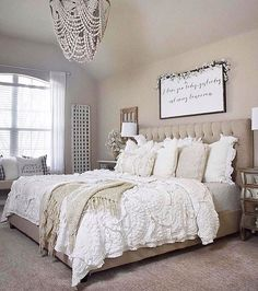Rustic Bedroom Ideas - If you intend to go to rest in rustic chic after that this post is perfect for you. We've gathered a lot of rustic bedroom design ideas you might utilize. Farmhouse Master Bedroom, Cozy Bedroom, Dream Bedroom, Bedroom Ideas, White Bedroom, Bedroom Colors, Wall Decor Master Bedroom, Cream And Grey Bedroom, Master Bedroom Chandelier