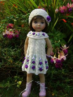 "Handknitted outfit for 13"" Effner Little Darling doll #DiannaEffner"