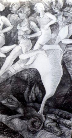 ¨Maldición¨ Carbonilla sobre tela  60 x 150 cm