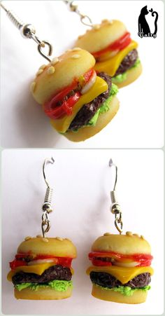 Polymer Clay Hamburger Earrings by ^Talty on deviantART