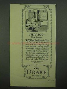 1925 The Drake Hotel Ad - Chicago This Summer