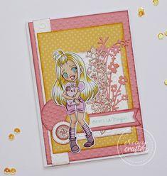 Spring, Cardmaking, Scrapbook, Crafts, Etsy, Art, Pink Glitter, Digi Stamps, Trapper Keeper
