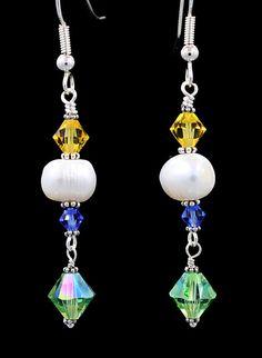 Swarovski crystal and pearl dangle earrings by Love2BeadbyCindy, $20.00