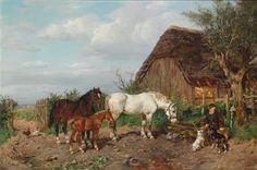 Ludwig Benno Fay (1859-1906 Düsseldorf) Pferdetränke