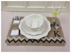 Diy home decor on a budget. Burlap Placemat with chevrons & initial by CreativePlaces on Etsy, $24.00