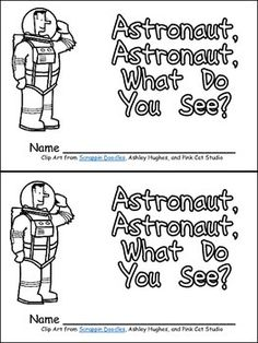 "This emergent reader little book will help young students practice early reading skills, while reading about space!!  This story uses a predictable pattern, ""Astronaut, astronaut, what do you see?"" to support emerging readers. The following vocabulary words are included: astronaut, rocket, stars, moon, sun, and earth.  This book includes the same text on both the top and bottom of each sheet of paper to make copying, sorting, stapling, and cutting easy to create a class set of little books!!"