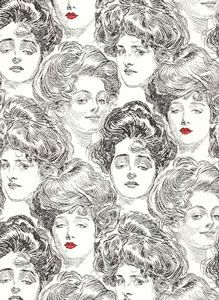 1920's Faces - Black on White with Red Lips [FAC-100] : Designer Wallcoverings, Specialty Wallpaper for Home or Office