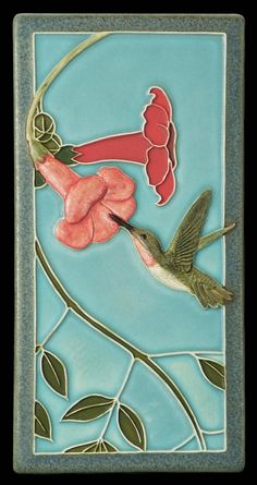 Ceramic tile, wall art, animal art, tile, Hummingbird 1, 4x8 inches, decorative wall tile