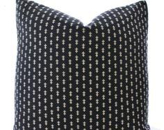 Indian Block Print Textile Pillow Cover, Ethnic, Handmade, Black, Off White, Various Sizes
