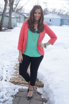 Mint and Coral. Love these colors together.