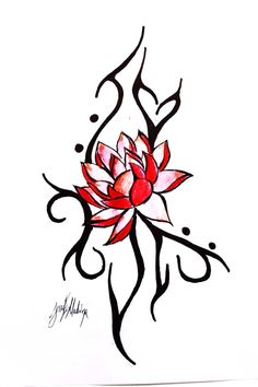 Red lotus tattoo concept