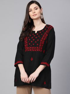 #Ada #handembroidered #Chikankari Black #Cotton Top- A100389 has a fascinating look, the raised chikan stitches beautify the top making it perfect choice for formal events with the finest stitches #Adachikan #chikan #shoponline #worldwidedelivery  #lucknowi