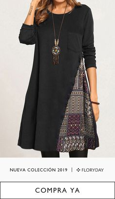 Oct 2019 - Geometric round neckline long sleeve midi A-line dress, women's style, fashion, trendy. Boho Fashion, Fashion Dresses, Womens Fashion, Style Fashion, Sewing Clothes, Diy Clothes, Stil Inspiration, Casual Dresses Plus Size, Womens Trendy Tops