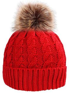 bed4de2bdc16c Simplicity Men Women s Winter Handcraft Knit Faux Fur Pom Beanie Hat R –  Videos.