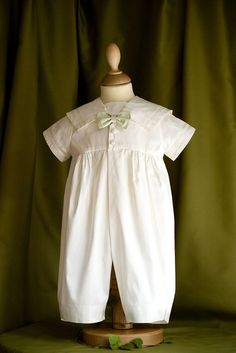 7b51c8ac Silk Sailor Romper (with shorts) Baptism Gown, Christening Gowns, Baby Boy  Christening