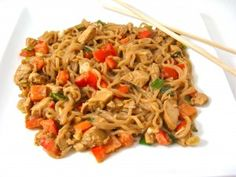 Skinny Asian Peanut Noodles with Chicken...I just discovered a new low calorie, low carb pasta called Nasoya Pasta Zero. It contains just 20 calories a serving! I used it for this recipe. You'll love this peanut sauce, too. It's super rich tasting with just the right amount of spice. The skinny for each serving, 200 calories, 9.6 grams of fat, 5 grams fiber and 5 Weight Watchers POINTS PLUS.