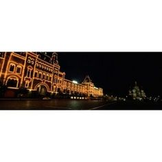 Facade of a building lit up at night GUM Red Square Moscow Russia Canvas Art - Panoramic Images (18 x 7)