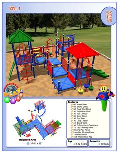 Commercial grade outdoor playground for a park, church, large daycare, outdoor restaurant area, resort or small hotel.