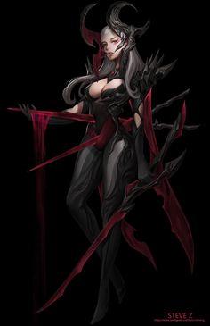 ArtStation - Seven Sins--Wrath, Steve Zheng Fantasy Demon, Fantasy Warrior, Anime Fantasy, Dark Fantasy Art, Fantasy Artwork, Female Character Concept, Fantasy Character Design, Character Design Inspiration, Character Art