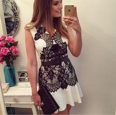 Image of V-neck lace sleeveless chiffon dress skirt