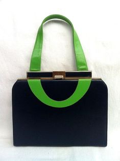 215f51b639 Vintage Navy Blue and Kelly Green Leather Frame Purse Handbag