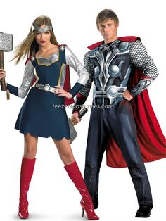 Couples Costumes,  #CouplesCostumes Adult Halloween Costumes #Halloweencostumescouples, #Thor Marvel Comics #CouplesCostume available at Teezerscostumes.com