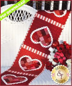 Patchwork Valentine Table Runner - PDF DOWNLOAD: THIS PRODUCT IS A PDF DOWNLOAD that must be downloaded and printed by the customer. A paper copy of the pattern will not be sent to you. What a lovely way to dress up your table this February! This quick and easy project features wool felt doilies around the patchwork hearts. Pattern includes all instructions for the 12 1/2