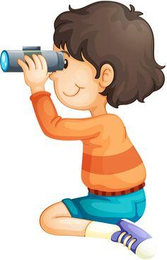 Boy exploring with binoculars