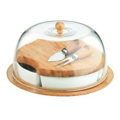 This 10-Piece Entertaining Set is perfect for the hostess with the mostess! Includes a 4-section server, cutting board and cheese utensils all covered with a dome.