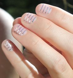 Silver Stripes Transparent Nail Wraps by SoGloss on Etsy 7€