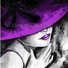bella Cuadro barato figura mujer con sombrero morado 1019 Magenta, Purple, Acrylic Art, Retro, Creative Art, Watercolor, Wall Art, Portrait, Drawings