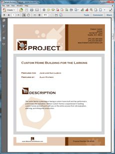 Custom Home Building Proposal -  Create your own custom proposal using the full version of this completed sample as a guide with any Proposal Pack. Hundreds of visual designs to pick from or brand with your own logo and colors. Available only from ProposalKit.com (come over, see this sample and Like our Facebook page to get a 20% discount)