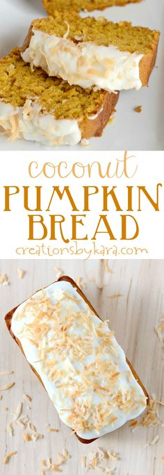 Pudding in the batter makes this Coconut Pumpkin Bread extra moist and delicious. Top it with cream cheese frosting for an extra special treat. It is a perfect fall quick bread recipe, and a family favorite pumpkin bread!