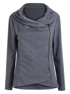 Sheinside® Women's Dark Grey Long Sleeve Asymmetric Zip Outerwear at Amazon Women's Coats Shop