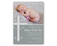 Baptism Invitations, Christening Invite,Church Dedication, First Communion - printable photo card with an ornate cross Baptism Announcement, Baby Announcement Cards, Baptism Invitation For Boys, Christening Invitations, Baptism Cards, Baby Christening, Getting Baptized, Invitation Cards, Invitation Ideas