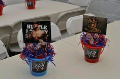 WWE centerpieces I made for my son's 6th birthday